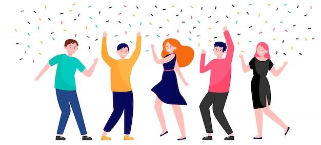 Счастливые люди танцуют на вечеринке вместе