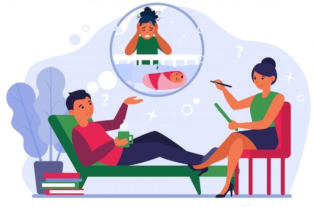 出産後うつ病について心理療法士と話している男性