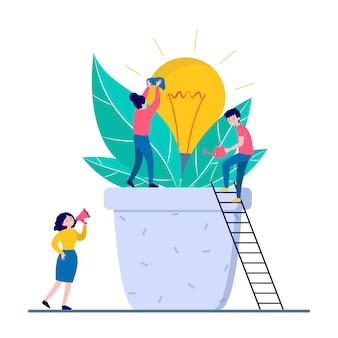 新しいアイデアを成長させる人々分離フラットベクトル図