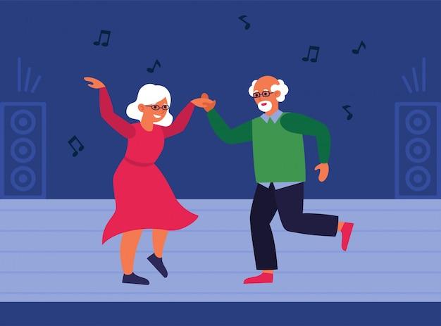 ダンスフロアで年配のカップル