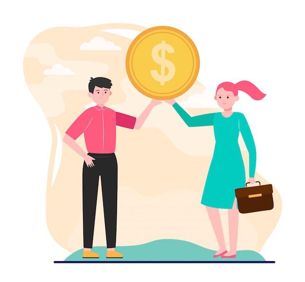 ドル硬貨を示す若いカップル
