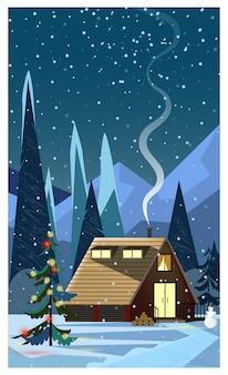 家と飾られたモミの木と冬の夜の風景