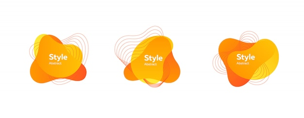 抽象的な現代的な黄色とオレンジ色のセット