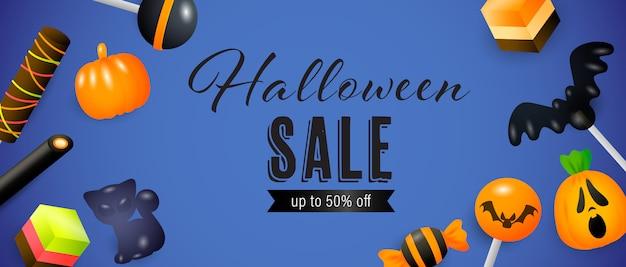 Хэллоуин распродажа, до пятидесяти процентов от надписи с леденцами на палочке