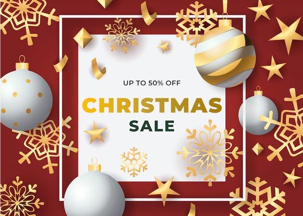 Рождественская распродажа в рамке с шарами и снежинками