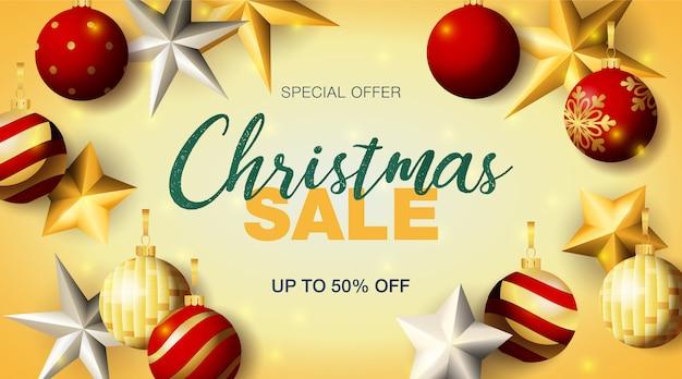 Рождественская распродажа баннер с шарами и звездами