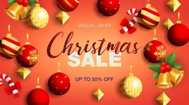 Рождественская распродажа баннер с колокольчиками и безделушками