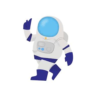 自信を持って歩く宇宙飛行士。人格、宇宙服、ミッション