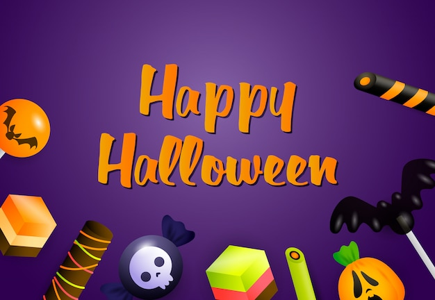 Счастливого хэллоуина баннер с конфетами
