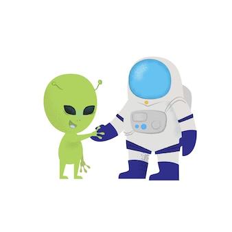 宇宙飛行士が宇宙人の手を振っています。性格、発見、探検。