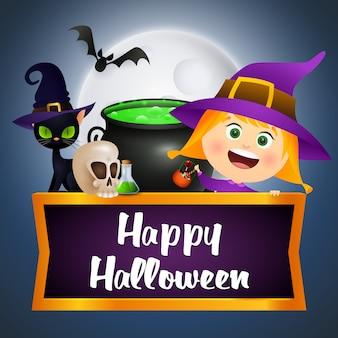 Счастливый хэллоуин иллюстрация с ведьмой, летучими мышами, зельем и черепом