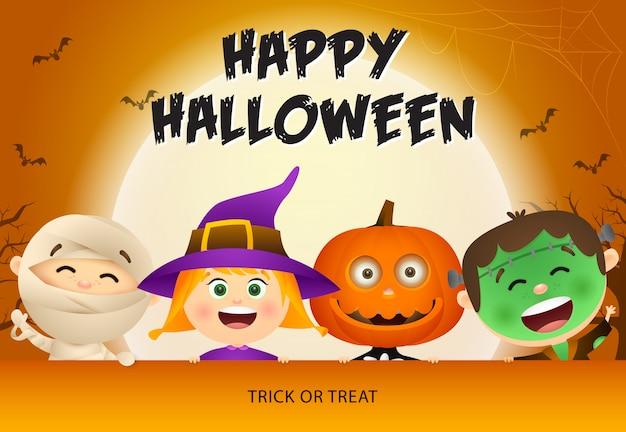 Счастливый хэллоуин с детьми в зомби