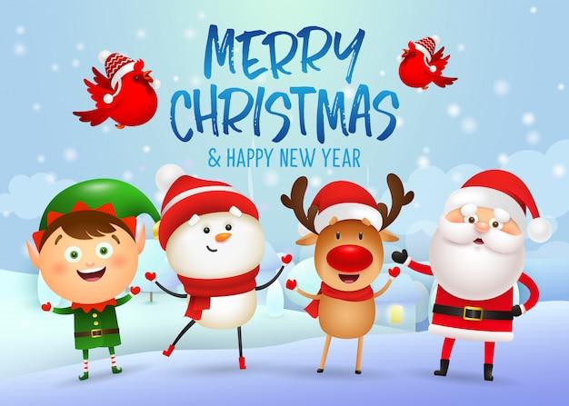Веселого рождества и счастливого нового года дизайн баннера