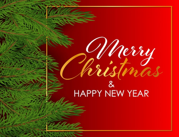 С рождеством и новым годом дизайн с еловыми ветками