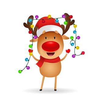 Веселый олень празднует рождество