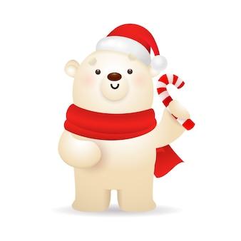 Забавный белый медведь с рождеством
