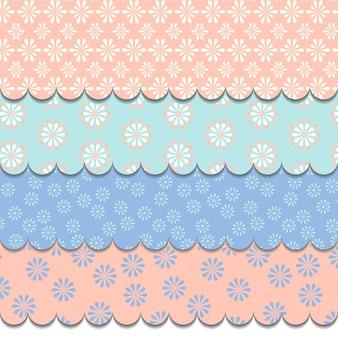 柔らかいパステルカラーの花柄 - シームレスなベクターのセット