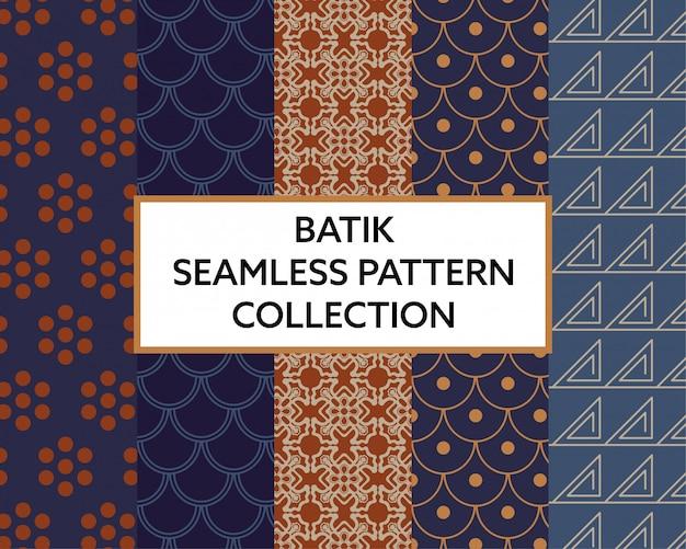 バティック生地のシームレスパターンコレクションベクトル
