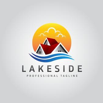 Логотип недвижимости на берегу озера