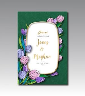 Шаблон тюльпана цветочные свадебные карточки
