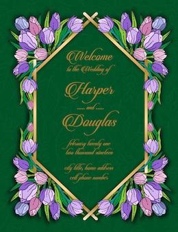 チューリップ花の結婚式のカードテンプレート