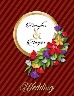 花の結婚式のカードテンプレート