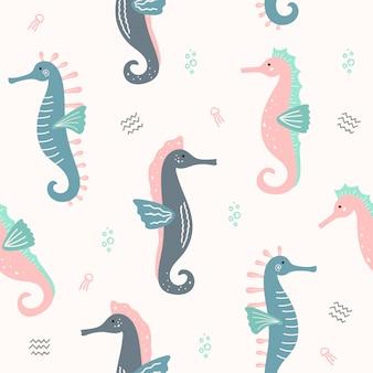 Симпатичные морские коньки животных бесшовные шаблон для обоев