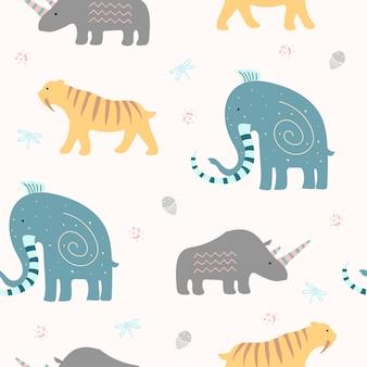 Симпатичные древних животных бесшовные модели