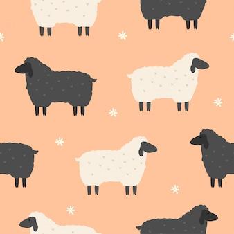 壁紙のためのかわいい羊シームレスパターン