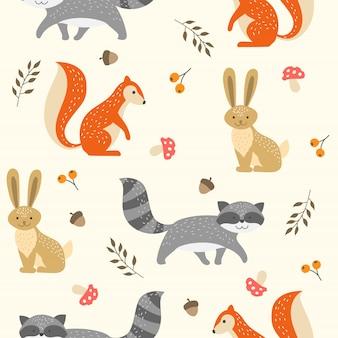 壁紙のためのかわいいウッドランド動物のシームレスなパターン