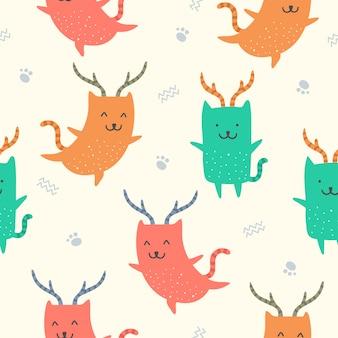 壁紙のためのかわいい猫のシームレスパターン