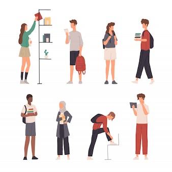 フラットなデザインでさまざまな活動をしている人々キャラクターイラスト集