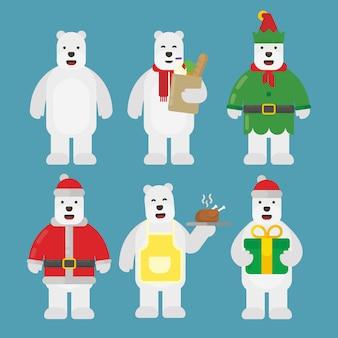 フラットなデザインのクリスマスシロクマキャラクターパック