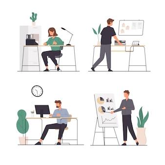 オフィスで働くさまざまな活動を持つ人々のセット