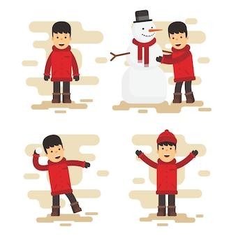 フラットなデザインのクリスマスキャラクターパック