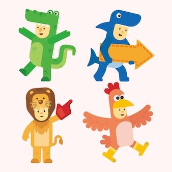 Векторный набор костюмов животных