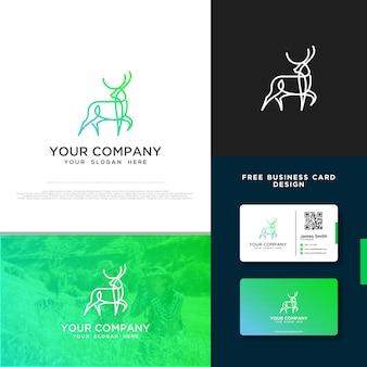 無料の名刺デザインと鹿のロゴ