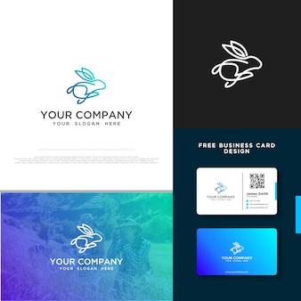 Кролик логотип с бесплатным дизайном визитной карточки