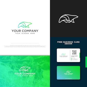 Медведь логотип с бесплатным дизайном визитной карточки