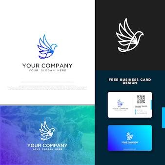 無料の名刺デザインと鳥のロゴ