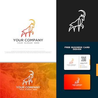 無料の名刺デザインとヤギのロゴ