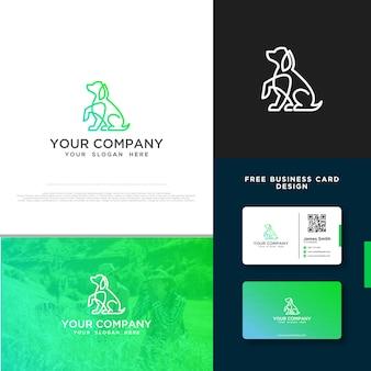 Логотип собаки с бесплатным дизайном визитной карточки