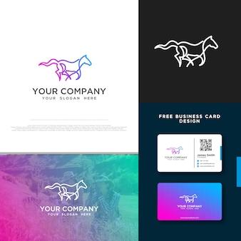 Лошадь логотип с бесплатным дизайном визитной карточки
