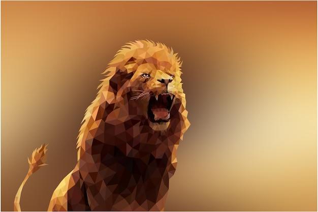 多角形の幾何学的なライオンの動物の背景