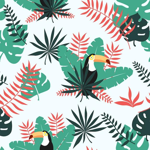 Тропический тукан бесшовные шаблон для обоев