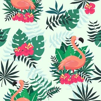 Тропический фламинго бесшовные шаблон для обоев