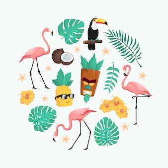 Симпатичный тропический летний персонаж векторный пакет