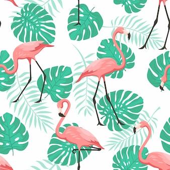 熱帯のフラミンゴの壁紙のためのシームレスなパターン