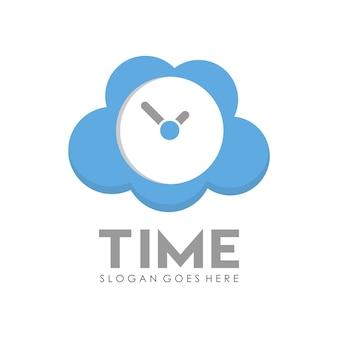 タイムクロックロゴデザインテンプレート