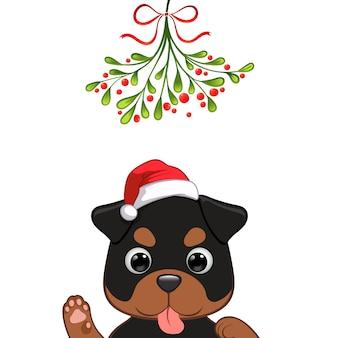 かわいい犬のキャラクターのクリスマスの肖像画